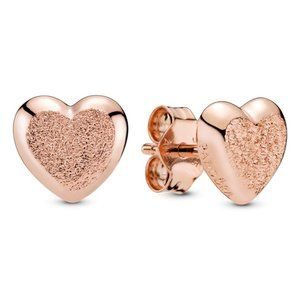 Pandora Matte Brilliance Heart Stud Earrings